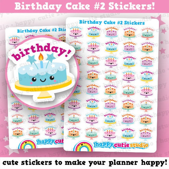 45 Cute Birthday Cake #2 Planner Stickers