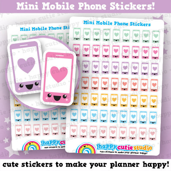63 Cute MINI Mobile/Cell Phone Planner Stickers
