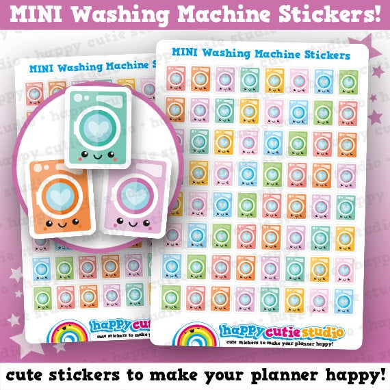 64 Cute MINI Washing Machine/Laundry Planner Stickers