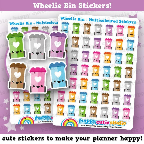 49 Cute Wheelie Bin/Trash/Garbage/Rubbish Planner Stickers