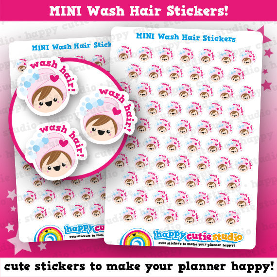 64 Cute MINI Wash Hair/Reminder/Shampoo Planner Stickers