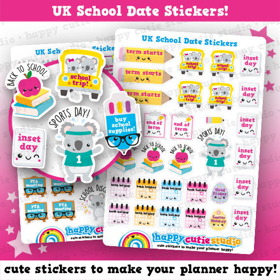 55 Cute UK School Dates/Study/College/ Planner Stickers