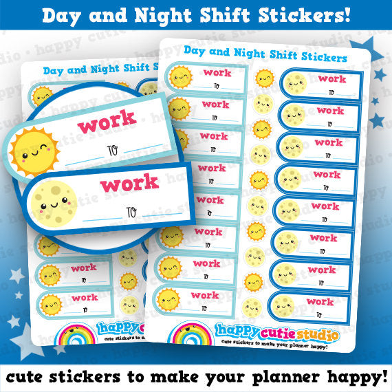 16 Cute Day and Night Shift/Work Planner Stickers