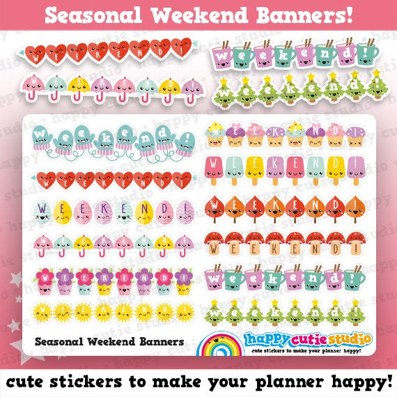 12 Cute Weekend Banners/Functional/Planner Stickers