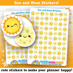 80 Cute Sun and Moon/Day and Night Planner Stickers