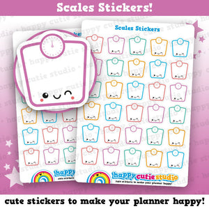30 Cute Scales, Weight Tracker Planner Stickers