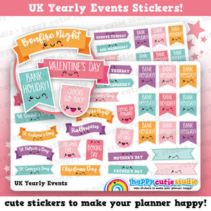 28 Cute UK Yearly Events/Holidays/Calendar/Bank Holidays Planner Stickers