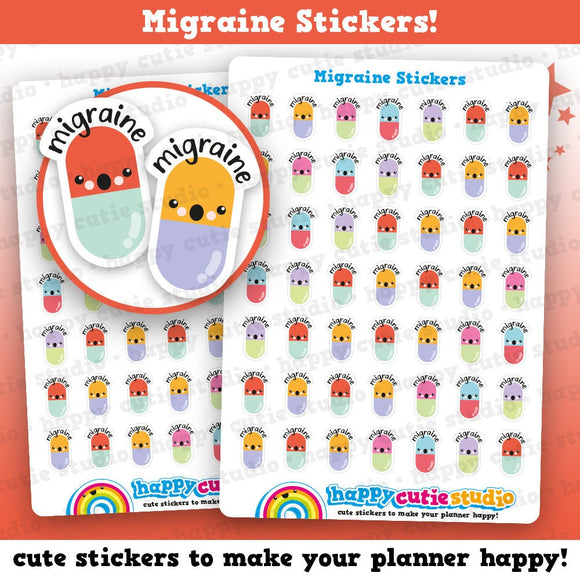49 Cute MINI Migraine/Headache/Pill/Medicine Planner Stickers