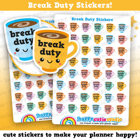 40 Cute Break Duty/Teacher/College/School Planner Stickers