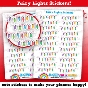 22 Cute Christmas Fairy Lights Planner Stickers