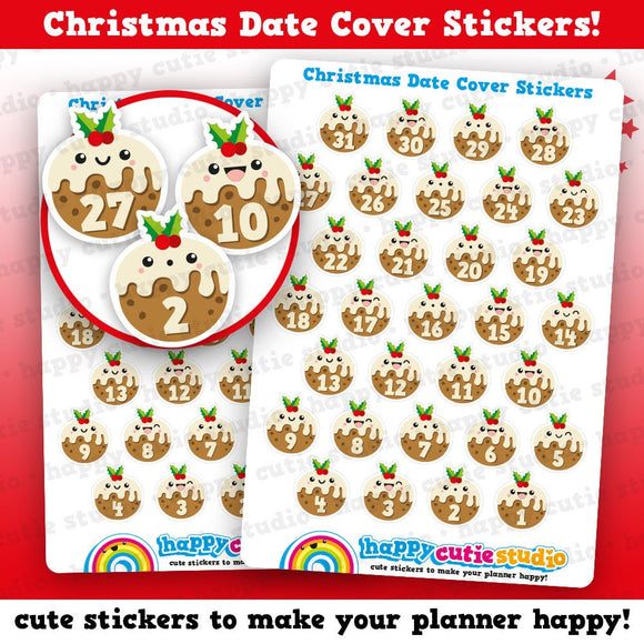 31 Cute Christmas Countdown/Date Cover Planner Stickers