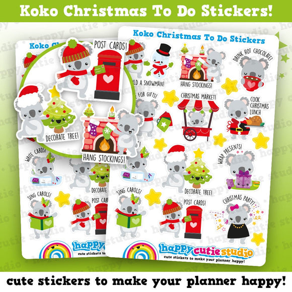 12 Cute Koko Christmas To Do/Bucket List/Festive/Holidays Planner Stickers