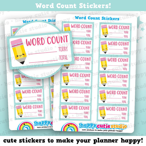 12 Cute Word Count/Writing/Author Planner Stickers