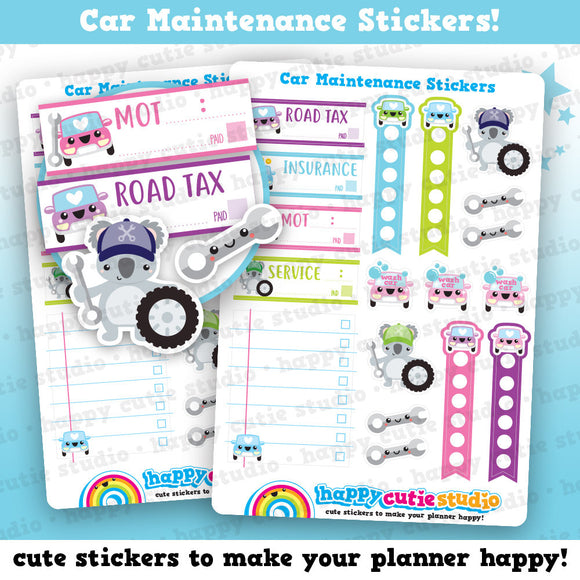 18 Cute Car Maintenance/Repair/Mechanic/ Reminder Planner Stickers