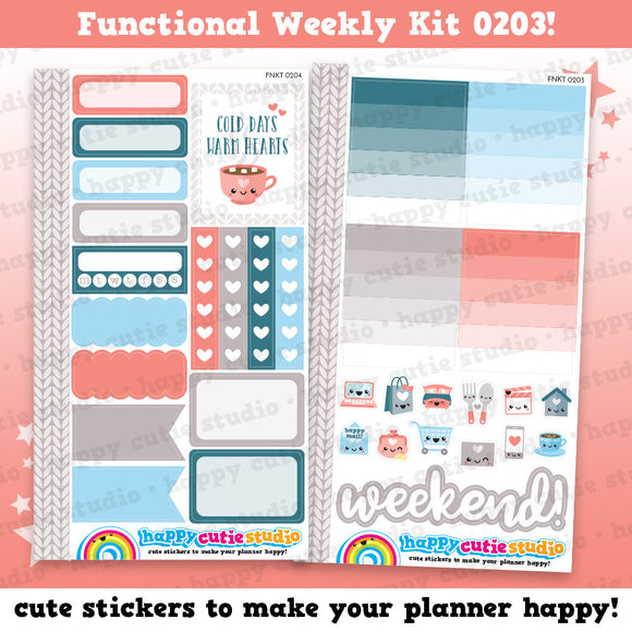 Functional Personal Size Weekly Kit 0203 Planner Stickers/Kawaii/Cute Stickers