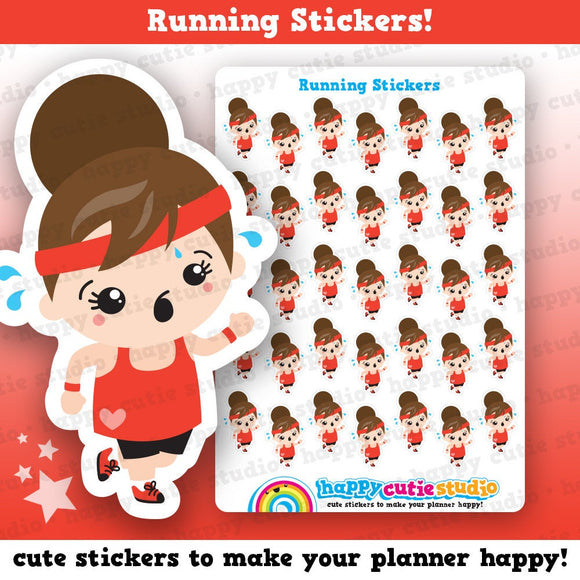 35 Cute Running/Exercise Girl Planner Stickers