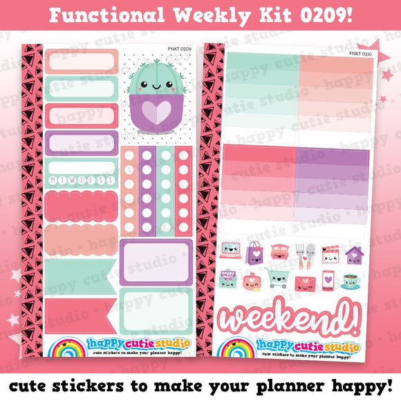 Functional Personal Size Weekly Kit 0209 Planner Stickers/Kawaii/Cute Stickers
