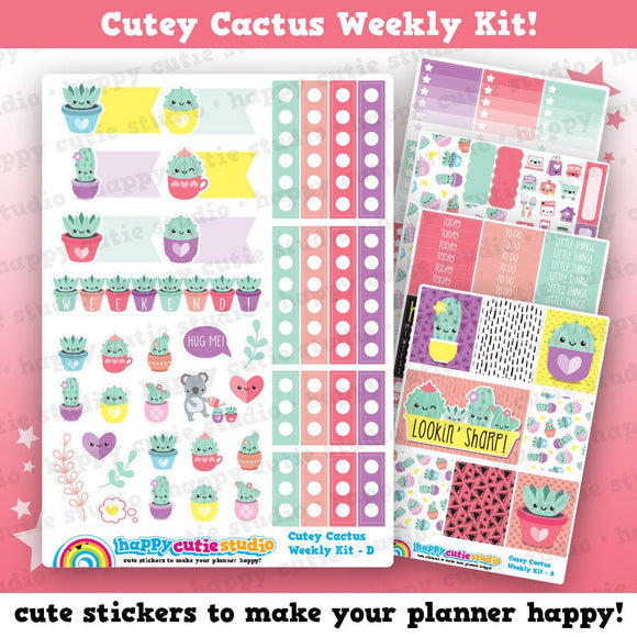 Cutey Cactus/Succulent Weekly Kit, Planner Stickers