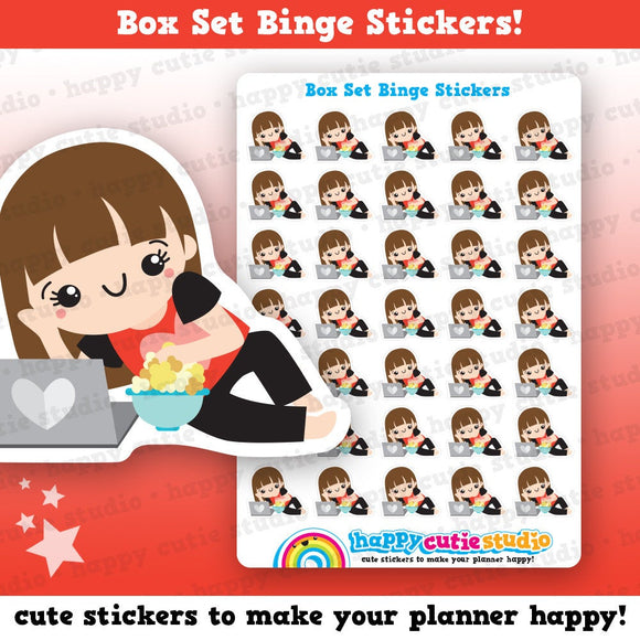 35 Cute Box Set Binge/TV/Movie/Film/YouTube Girl Planner Stickers