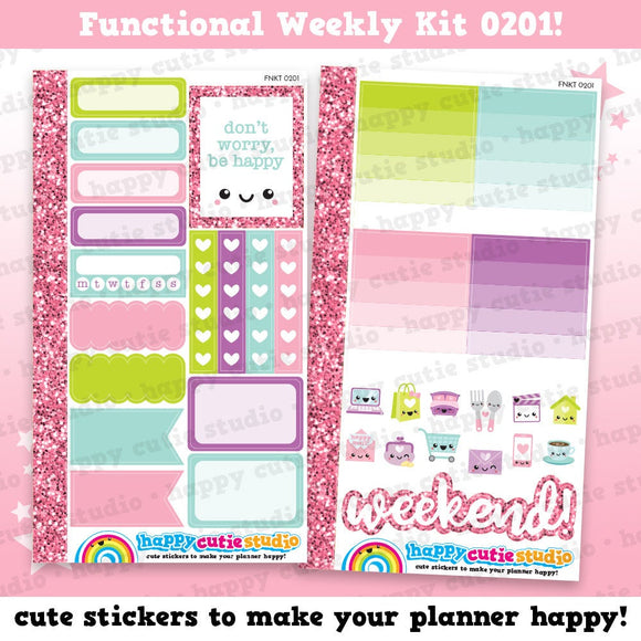 Functional Personal Size Weekly Kit 0201 Planner Stickers/Kawaii/Cute Stickers