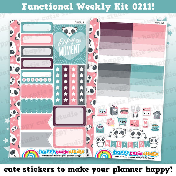 Functional Personal Size Weekly Kit 0211 Planner Stickers/Panda/Kawaii/Cute Stickers