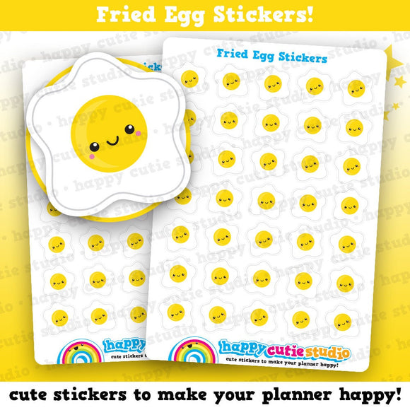 35 Cute Fried Egg/Breakfast/Egg Planner Stickers