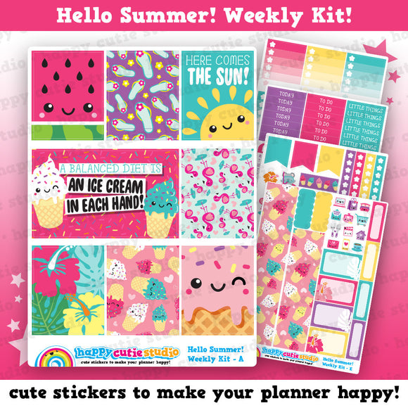 Hello Summer!/Cute Ice Cream/Tropical Weekly Kit, Planner Stickers