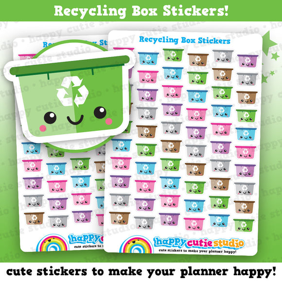 60 Cute Recycling Box/Trash/Garbage/Rubbish Planner Stickers