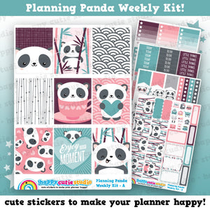 Planning Panda/Cute Panda Bear/Bamboo Weekly Kit, Planner Stickers