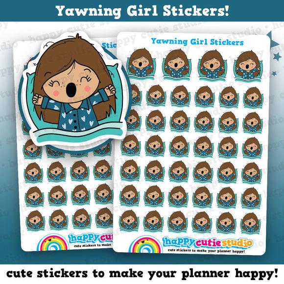 40 Cute Yawning/Tired/Early Night Girl Planner Stickers