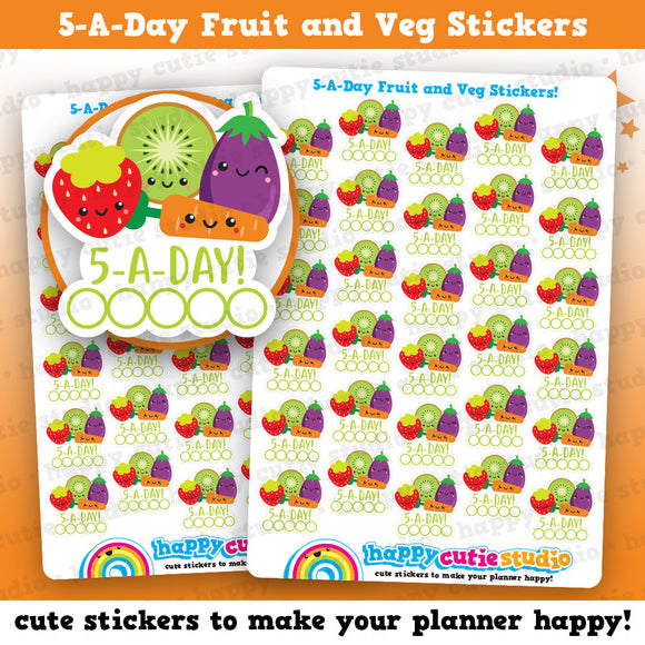 30 Cute 5-A-Day Fruit and Veg Tracker Planner Stickers