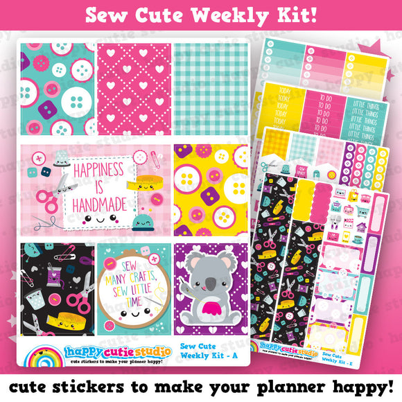 Sew Cute/Sewing/Craft Weekly Kit, Planner Stickers