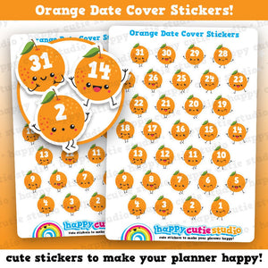 31 Cute Orange/Fruit/Date Cover Planner Stickers