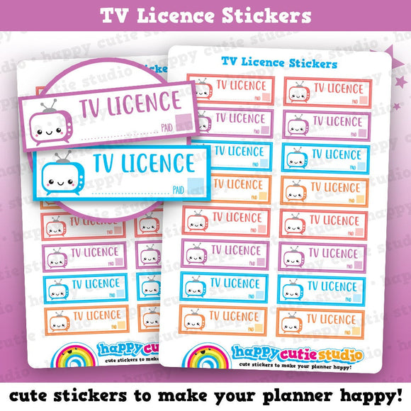16 Cute TV Licence/Tracker Reminder Planner Stickers