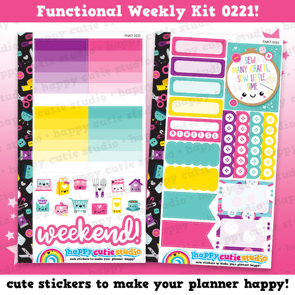 Functional Personal Size Weekly Kit 0221 Planner Stickers/Kawaii/Cute Stickers