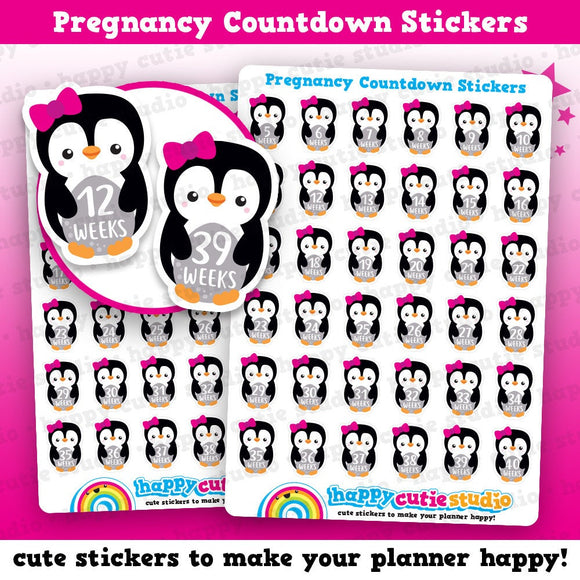 36 Cute Penguin Pregnancy Countdown Planner Stickers