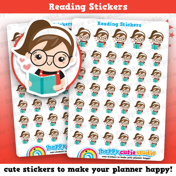 41 Cute Reading/Library Girl Planner Stickers