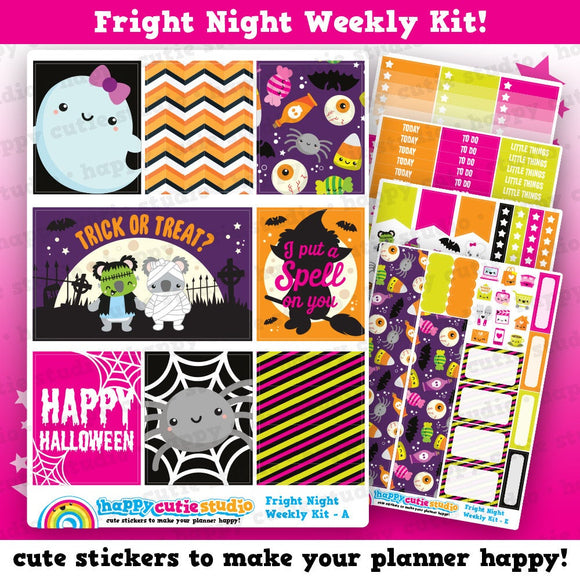 Fright Night/Halloween/Spooky Weekly Kit, Planner Stickers