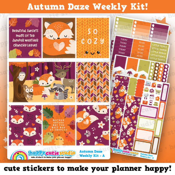 Autumn Daze/Autumn/Fall Weekly Kit, Planner Stickers