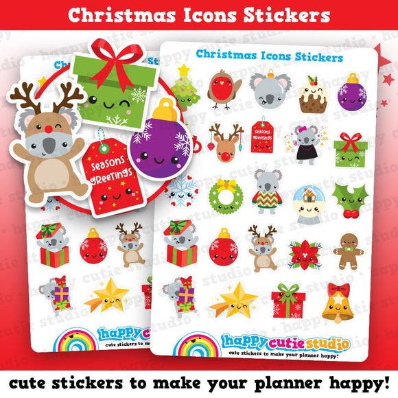 24 Cute Christmas Icons/Festive/Holidays Planner Stickers