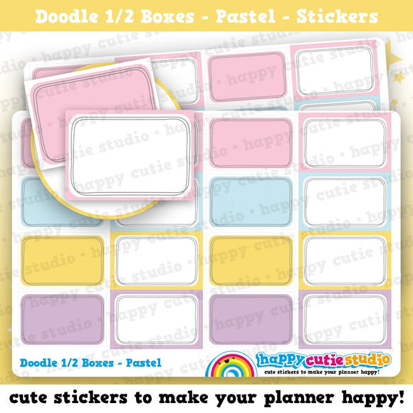 16 Cute Half Box Doodle/Pastel/Functional/Practical Planner Stickers