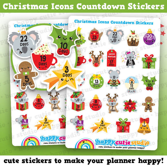 24 Cute Christmas Icons Countdown/Festive/Holidays Planner Stickers