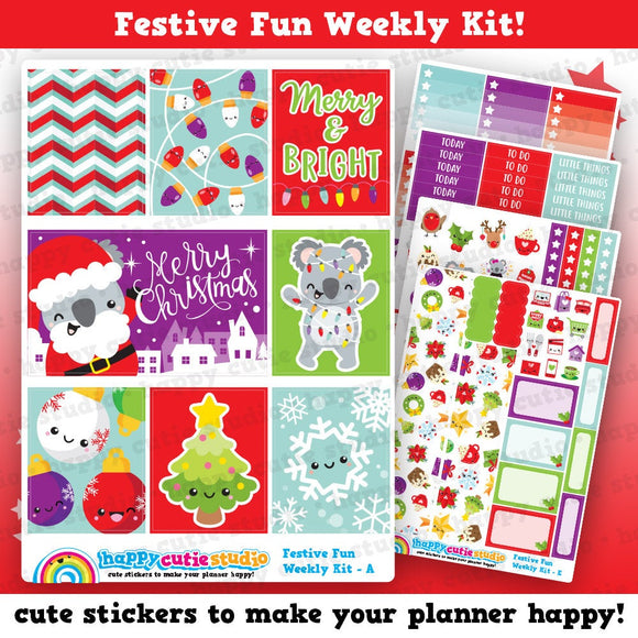 Festive Fun/Christmas/Holiday Weekly Kit, Planner Stickers