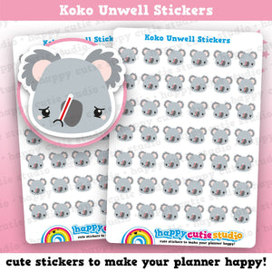 42 Cute Koko the Koala Unwell Planner Stickers