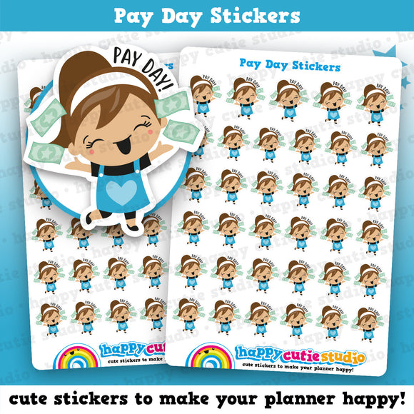 35 Cute Pay Day/Payday/Money Girl Planner Stickers