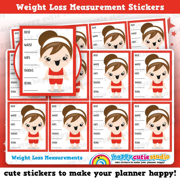 8 Cute Full Box Weight Loss Measurement/Diet/Health Planner Stickers