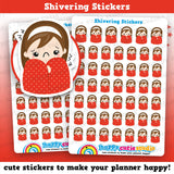 48 Cute Shiver/Unwell/Sick Girl Planner Stickers