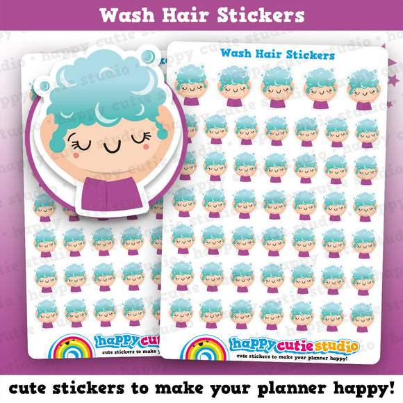 47 Cute Wash Hair/Pamper/Hair Girl Planner Stickers