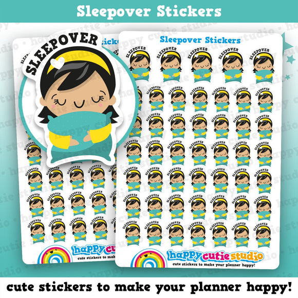 47 Cute Sleepover/Toddler/Pillow/Kid Planner Stickers