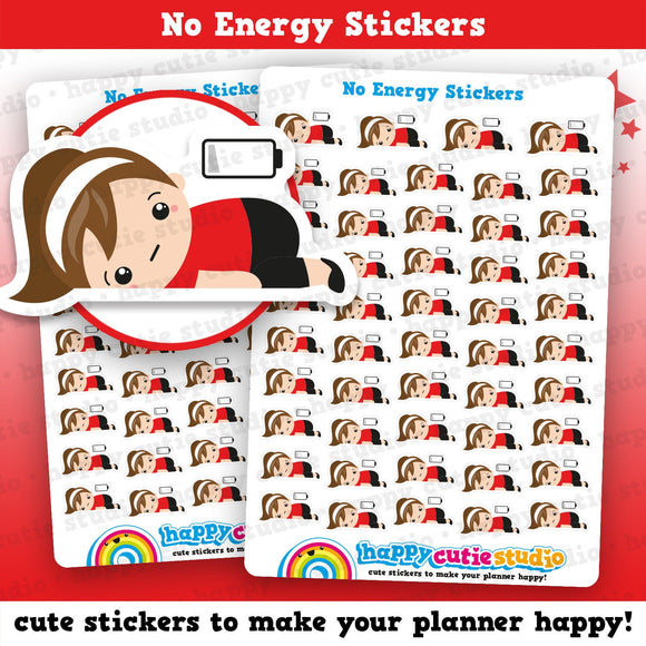 49 Cute No Energy/Low Battery/Sleepy/Current Mood Girl Planner Stickers